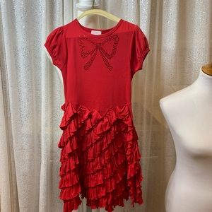 Lemon loves line red cotton dress